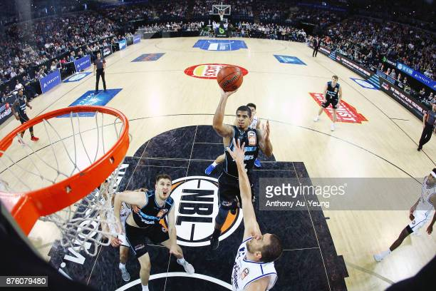 Edgar Sosa of the Breakers puts up a shot during the round seven NBL match between New Zealand and Brisbane at Spark Arena on November 19 2017 in...