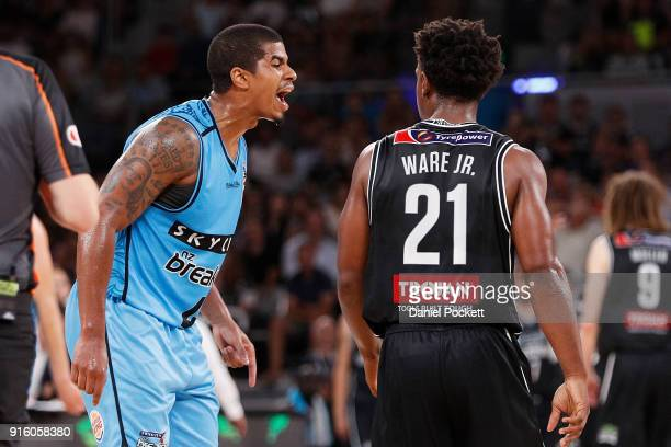 Edgar Sosa of the Breakers reacts to Casper Ware of Melbourne United during the round 18 NBL match between Melbourne United and the New Zealand...