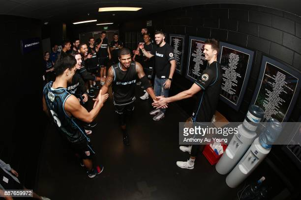 Edgar Sosa of the Breakers runs out during the players introduction during the round nine NBL match between the New Zealand Breakers and the Brisbane...