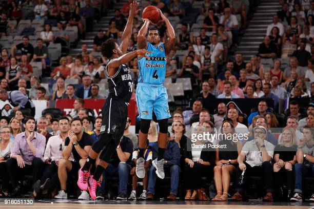 Edgar Sosa of the Breakers shoots from the arc during the round 18 NBL match between Melbourne United and the New Zealand Breakers at Hisense Arena...