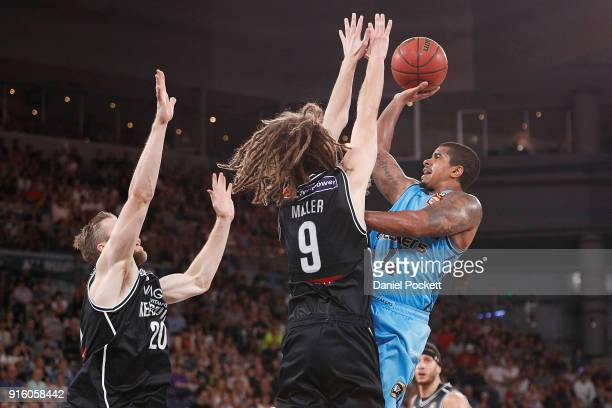 Edgar Sosa of the Breakers shoots the ball during the round 18 NBL match between Melbourne United and the New Zealand Breakers at Hisense Arena on...