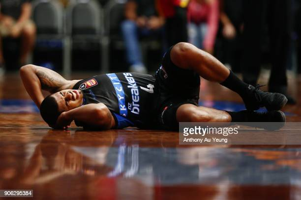 Edgar Sosa of the Breakers suffers an injury during the round 16 NBL match between the New Zealand Breakers and Melbourne United at North Shore...