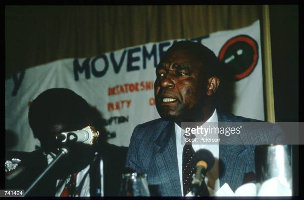 Edgar Tekere leader of the Zimbabwe Unity Movement sits January 23 1990 near Jamba Angola The National Union for the Total Independence of Angola and...