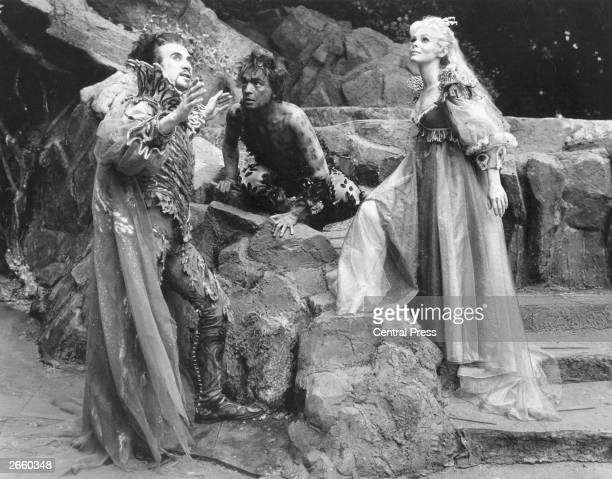 Edgar Wreford as 'Oberon' Bernard Hopkins as 'Puck' and Jill Dixon as 'Titania' in a scene from the New Shakespeare Company's production of 'A...