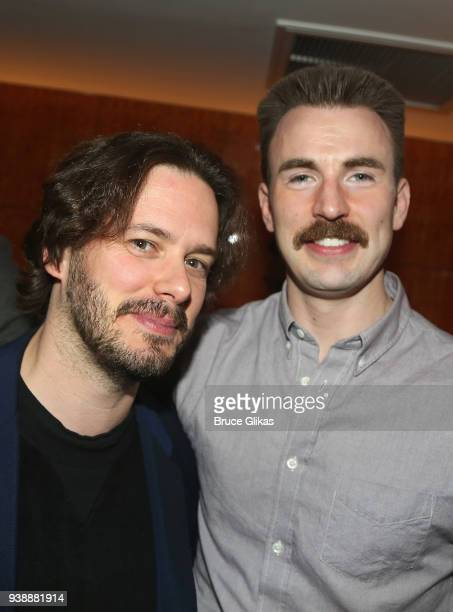 Edgar Wright and Chris Evans pose at the opening night after party for the play 'Lobby Hero' on Broadway at Bryant Park Grill on March 26 2018 in New...