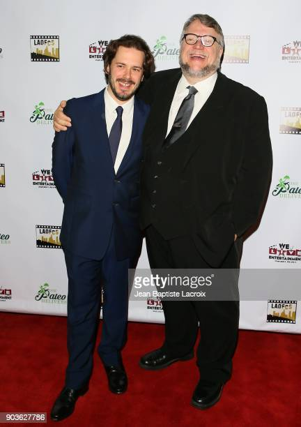 Edgar Wright and Guillermo del Toro attend the the Inaugural Los Angeles Online Film Critics Society Award Ceremony on January 10 2018 in Hollywood...