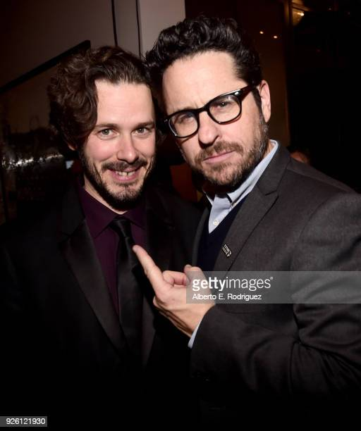 Edgar Wright and JJ Abrams attend the Oscar Wilde Awards 2018 at Bad Robot on March 1 2018 in Santa Monica California