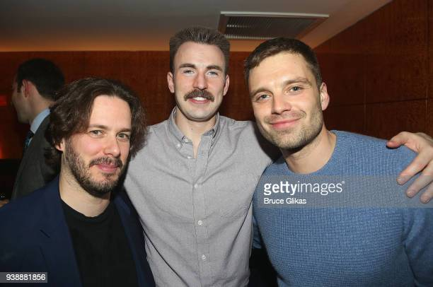 Edgar Wright Chris Evans and Sebastian Stan pose at the opening night after party for the play 'Lobby Hero' on Broadway at Bryant Park Grill on March...