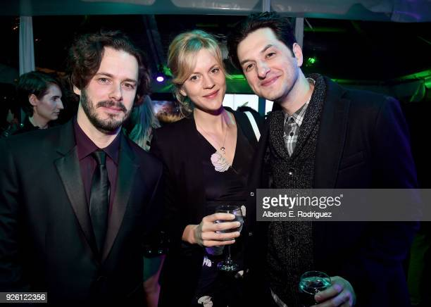 Edgar Wright Georgia King and Ben Schwartz attend the Oscar Wilde Awards 2018 at Bad Robot on March 1 2018 in Santa Monica California
