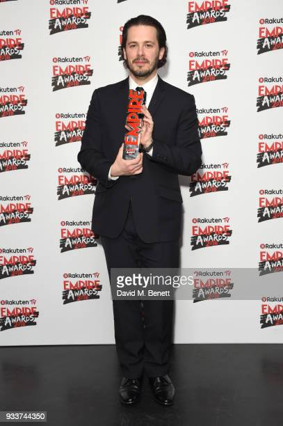 Edgar Wright winner of the 'Visionary' award poses in the winners room at the Rakuten TV EMPIRE Awards 2018 at The Roundhouse on March 18 2018 in...