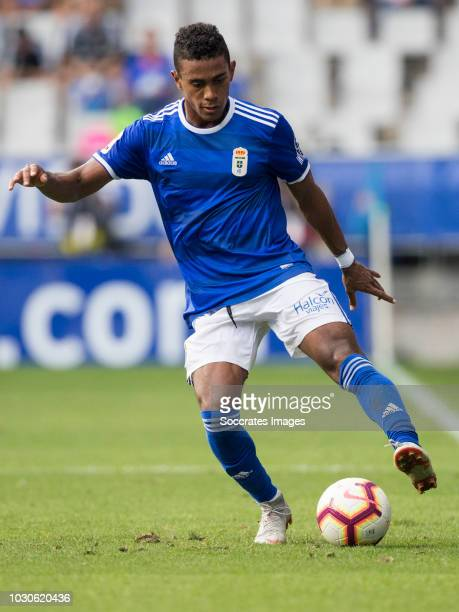 Edgar Yoel Barcenas of Real Oviedo during the match between Real Oviedo v Real Zaragoza at the Estadio Carlos Tartiere on September 8 2018 in Oviedo...