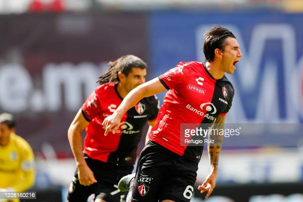 Edgar Zaldivar of Atlas celebrates after scoring the first goal of his team during the 6th round match between Atlas and Queretaro as part of the...