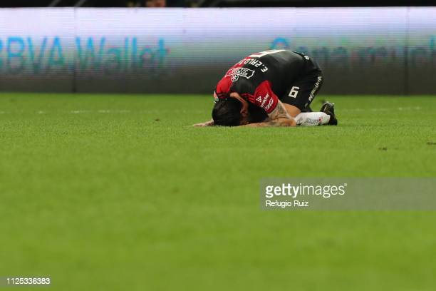 Edgar Zaldivar of Atlas reacts during the seventh round match between Chivas and Atlas as part of the Torneo Clausura 2019 Liga MX at Akron Stadium...