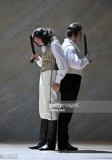 Edgaras Montvidas as Lensky and Andrei Bondarenko as Eugene Onegin in Pyotr Ilyich Tchaikovsky's Eugene Onegin directed by Graham Vick and conducted...