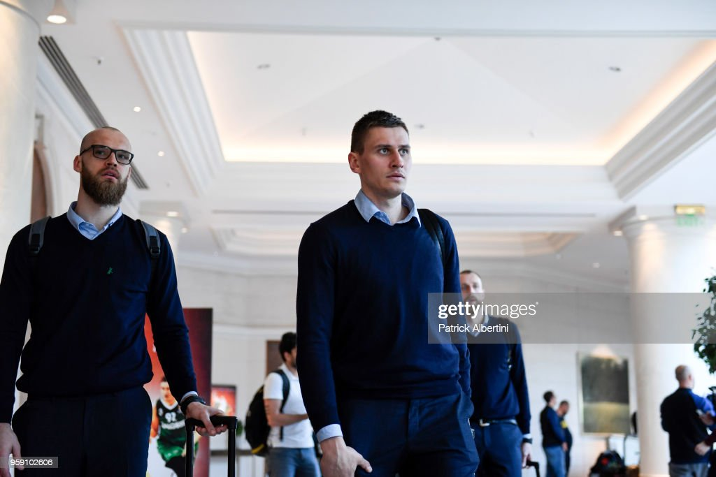 Edgaras Ulanovas, #92 of Zalgiris Kaunas and Antanas Kavaliauskas, #44 of Zalgiris Kaunas during the Zalgiris Kaunas Arrival to participate of 2018 Turkish Airlines EuroLeague F4 at Hyatt Regency Hotel on May 16, 2018 in Belgrade, Serbia.