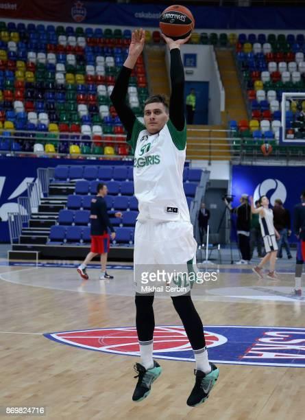 Edgaras Ulanovas #92 of Zalgiris Kaunas before the 2017/2018 Turkish Airlines EuroLeague Regular Season Round 5 game between CSKA Moscow and Zalgiris...