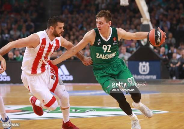Edgaras Ulanovas #92 of Zalgiris Kaunas competes with Branko Lazic #10 of Crvena Zvezda mts Belgrade in action during the 2017/2018 Turkish Airlines...