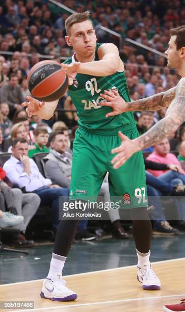 Edgaras Ulanovas #92 of Zalgiris Kaunas competes with in action during the 2017/2018 Turkish Airlines EuroLeague Regular Season Round 27 game between...