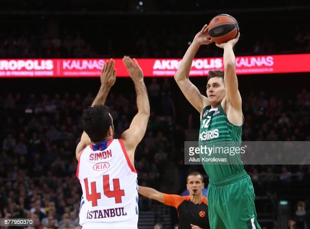 Edgaras Ulanovas #92 of Zalgiris Kaunas in action during the 2017/2018 Turkish Airlines EuroLeague Regular Season Round 9 game between Zalgiris...