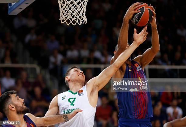 Edgaras Ulanovas and Adam Hanga during the match between FC Barcelona v Zalgiris Kaunas corresponding to the week 3 of the basketball Euroleaguein...