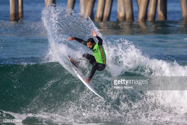 Edgard Groggia of Brazil surfs in Heat 1 of the Round of 96 at the US Open of Surfing Huntington Beach presented by Shiseido on September 21, 2021 at...