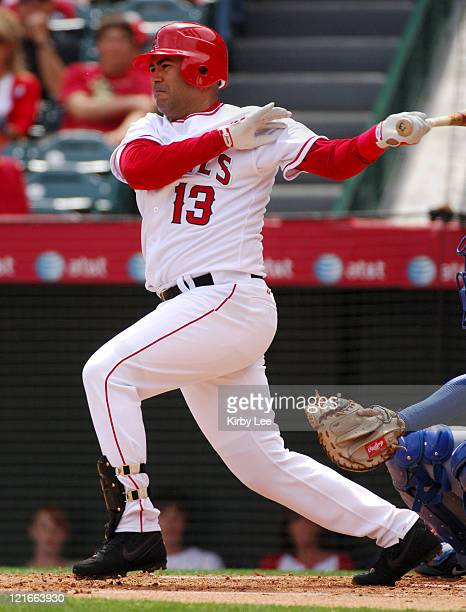 Edgardo Alfonzo of the Los Angeles Angels of Anaheim bats during 42 victory over the Los Angeles Dodgers in Interleague Exhibition baseball game at...