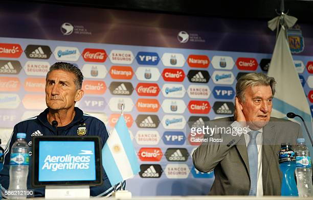 Edgardo Bauza and Armando Perez head of AFA normalizing committee during a press conference to announce Edgardo Bauza as new coach of Argentina at...