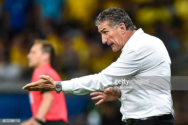 Edgardo Bauza coach of Argentina a match between Brazil and Argentina as part 2018 FIFA World Cup Russia Qualifier at Mineirao stadium on November 10...