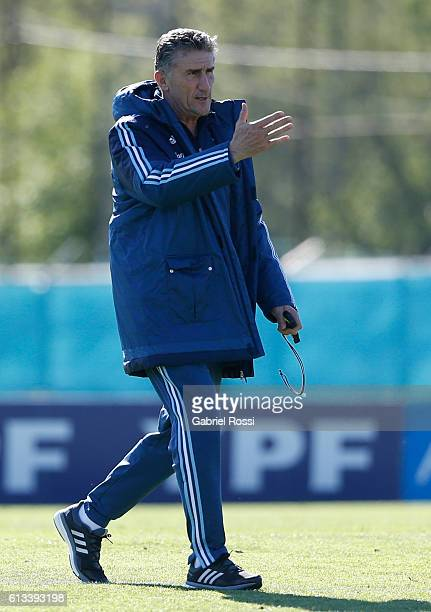 Edgardo Bauza coach of Argentina gestures during a training session at Argentine Football Association 'Julio Humberto Grondona' training camp on...