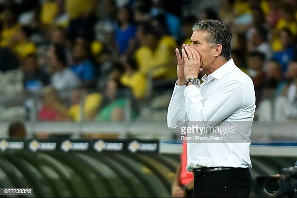 Edgardo Bauza coach of Argentina gives intructions to his players during a match between Argentina and Brazil as part of FIFA 2018 World Cup...