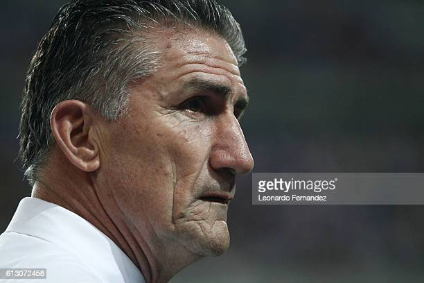 Edgardo Bauza coach of Argentina looks on during a match between Peru and Argentina as part of FIFA 2018 World Cup Qualifiers at Nacional Stadium on...