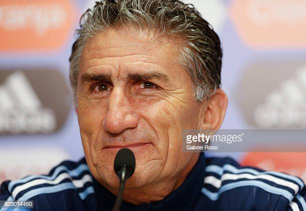 Edgardo Bauza coach of Argentina looks on during a press conference at Argentine Football Association 'Julio Humberto Grondona' training camp on...