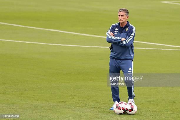 Edgardo Bauza coach of Argentina looks on during a training session at Alberto Gallardo Stadium on October 03 2016 in Lima Peru