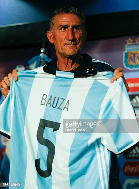 Edgardo Bauza coach of Argentina pose for a photo during a press conference to announce him as new coach of Argentina at Julio Humberto Grondona...