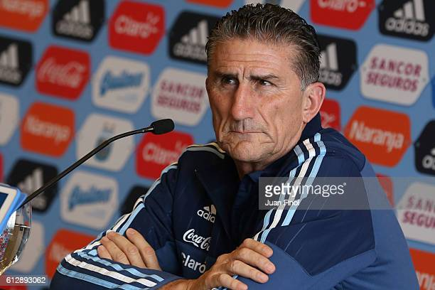 Edgardo Bauza coach of Argentina speaks during a press conference at Westin Hotel Lima on October 05 2016 in Lima Peru