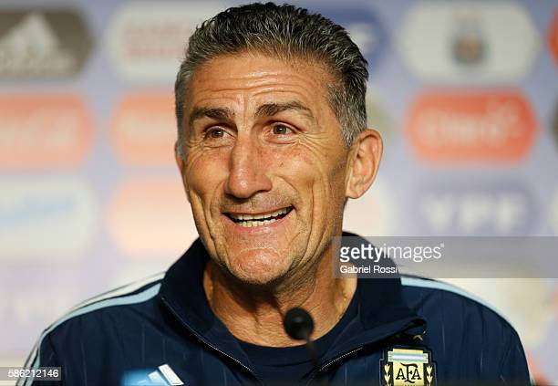 Edgardo Bauza talks during a press conference to announce him as new coach of Argentina at Julio Humberto Grondona Campus on August 05 2016 in Ezeiza...