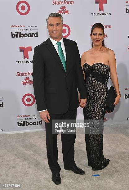 Edgardo del Villar and guest arrive at 2015 Billboard Latin Music Awards presented bu State Farm on Telemundo at Bank United Center on April 30 2015...