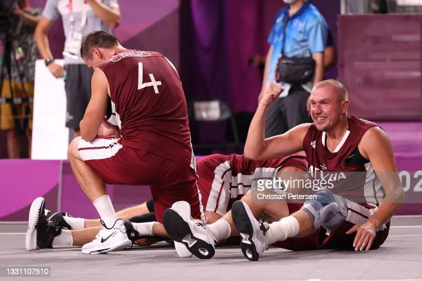 Edgars Krumins of Team Latvia celebrates victory and winning the gold medal in the 3x3 Basketball competition on day five of the Tokyo 2020 Olympic...