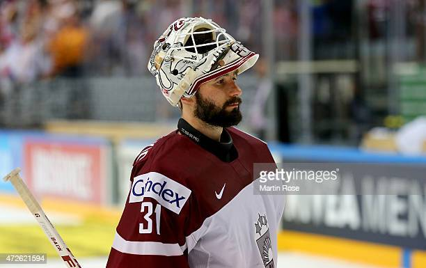 Edgars Masalskis goaltender of Latvia looks dejected after the IIHF World Championship group A match between Czech Republic and Austria at o2 Arena...