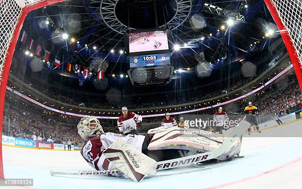 Edgars Masalskis goaltender of Latvia makes a save during the IIHF World Championship group A match between Czech Republic and Austria at o2 Arena on...