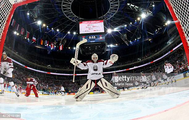 Edgars Masalskis goaltender of Latvia sakts against Germany during the IIHF World Championship group A match between Czech Republic and Austria at o2...