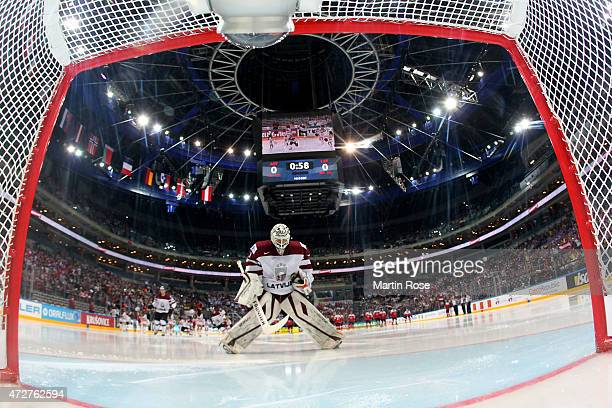 Edgars Masalskis goaltender of Latvia skates against Austria during the IIHF World Championship group A match between Austria and Latvia at o2 Arena...