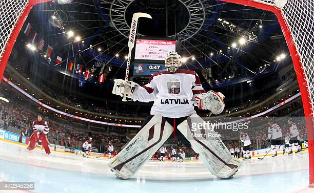 Edgars Masalskis goaltender of Latvia skates against Switzerland during the IIHF World Championship group A match between Switzerland and Latvia at...