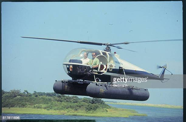 Famed Boston criminal lawyer F Lee Bailey arrives in helicopter at Dyke Bridge Chappaquiddick Island where Mary Jo Kopechne drowned in Sen Edward...