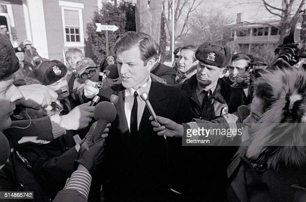 Senator Edward M Kennedy talks to newsmen after completeing testimony at the first day of inquest into July 18th death of Mary Jo Kopechne Miss...