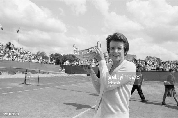 Edgbaston Cup at the Edgbaston Priory Club in Birmingham England 6th to 12th June 1983 our picture shows Billie Jean King after winning Women's...