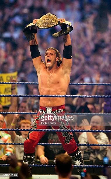 "Edge makes his intro at ""WrestleMania 25"" at the Reliant Stadium on April 5, 2009 in Houston, Texas."