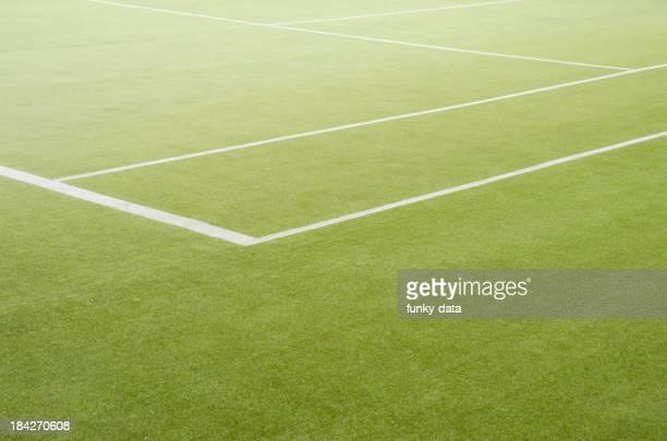 Edge of a grass tennis field