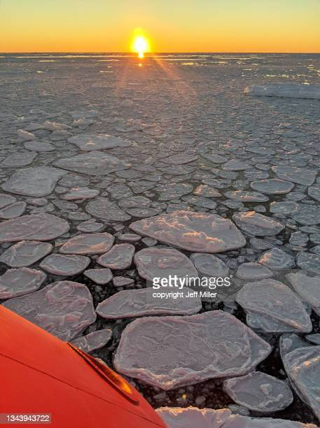 edge of an icebreaker floating in a sea of pancake ice, southern ocean, antarctica. - pack ice stock pictures, royalty-free photos & images