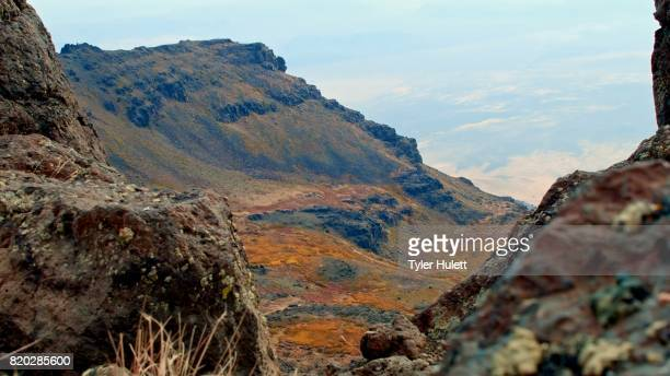 edge of cliff macro silder 2 summit steens mountain near malhuer wildlife refuge 5 - steens mountain stock pictures, royalty-free photos & images